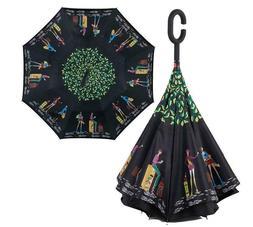 Inverted C-Handle Umbrella Windproof Folding Upside Down Saf