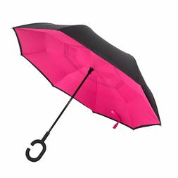 Inverted C-Handle Double Layer Umbrella Windproof Folding Up