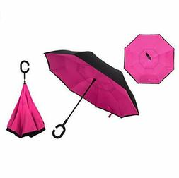 Inverted double layer windproof reversible large umbrella wi