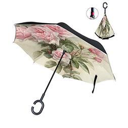 ALAZA Inverted Golf Umbrella Vintage Rose Bee UV Anti Windpr