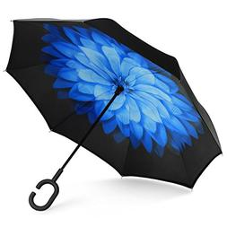 SHINE HAI Inverted Umbrella, Double Layer Windproof Reverse
