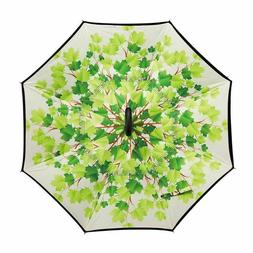 Gusuqing Inverted Umbrella Black with Leaves Pattern