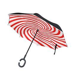 Inverted Umbrella Christmas Candy Canes Reverse Umbrella UV