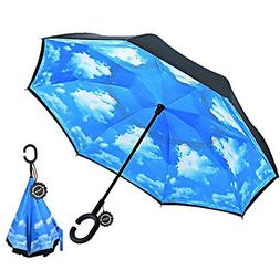 Inverted Umbrella,Double Layer Reverse Umbrella for Car and