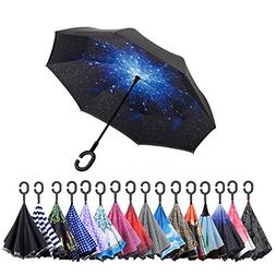 Inverted Umbrella Windproof Reverse Folding Double Layer Tra