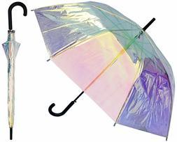 """Iridescent Umbrella RainStoppers Iridescent Clear 46"""" Arc Um"""