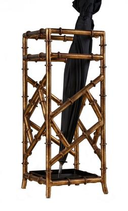 Iron Bamboo Umbrella Stand Holder Antique Gold Finish, 21''T