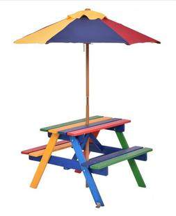 Kid's Picnic Umbrella Table Solid Durable Wood Two Bench Sea