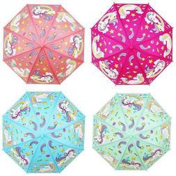 Kids Childrens Cartoon Umbrella Gift Folding Boys Girls Auto