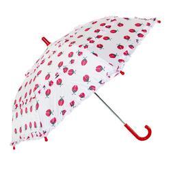 CTM Kids' Ladybug Print Ruffle Stick Umbrella with Hook Hand