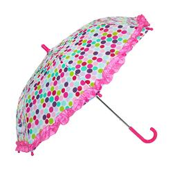 CTM Kids' Polka Dot Print Stick Umbrella with Ruffled Edge