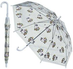 "Rainstoppers Kids Unicorn Clear Stick Umbrella 32""  …"