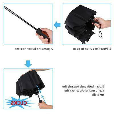 10 Ribs Folding Umbrella Auto Open And Close Waterproof Windproof Black
