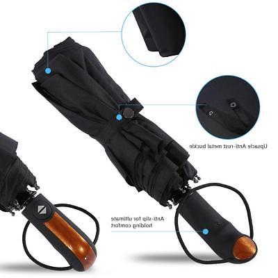 10 Ribs Compact Folding Umbrella Open Close Windproof