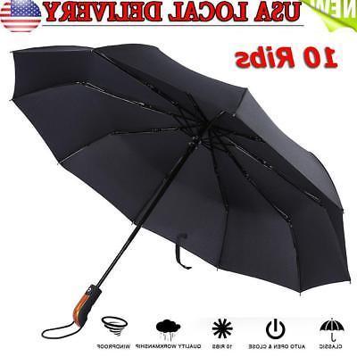 10 ribs compact folding umbrella auto open