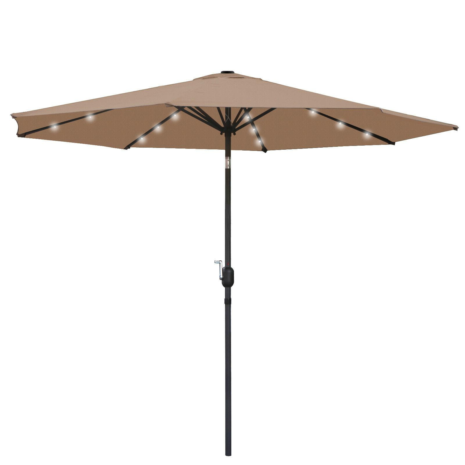 10ft led lighted patio market umbrella solar
