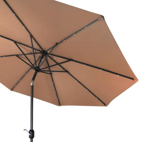 10Ft Lighted Market Solar Umbrella Table,