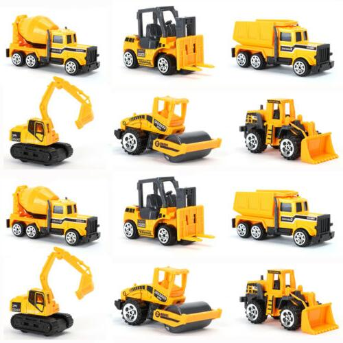 12 pcs kids mini alloy construction vehicle
