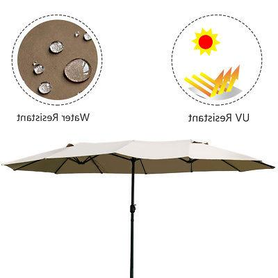 15' Market Outdoor Umbrella Double-Sided Patio with Beige