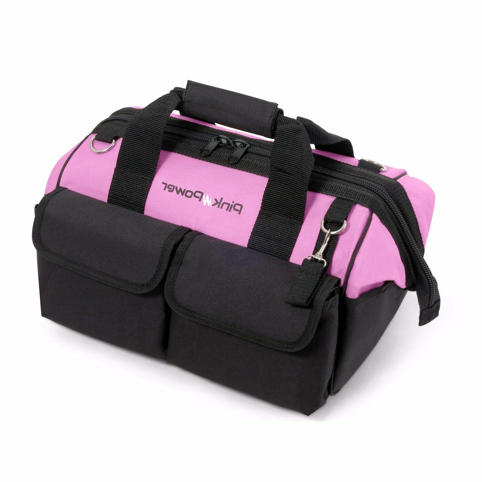 "Pink Power 16"" Tool Bag Women 22 Storage Pockets & Padded"