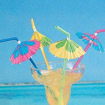 24 cocktail parasol umbrella straws