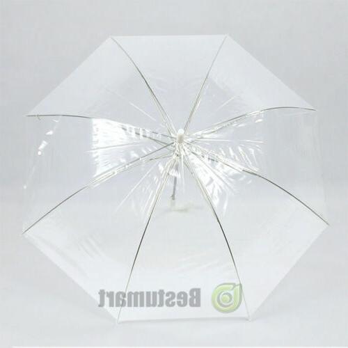 Large Transparent See Umbrella White Rib Auto