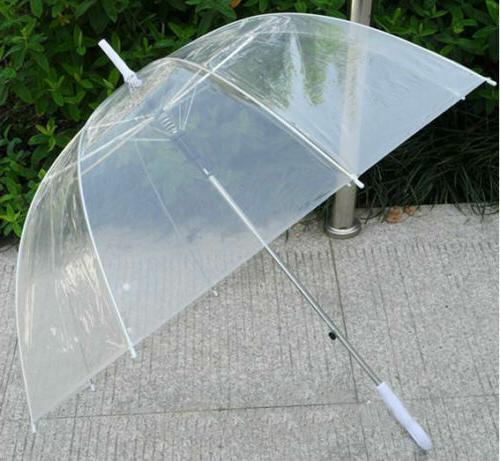 Large See Through Umbrella W White Handle 8 Rib Auto