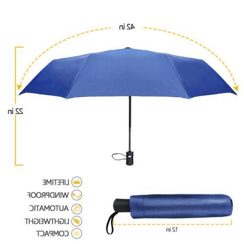 2X Portable Windproof Anti-UV Sun Rain 3 Folding Compact Travel Parasol