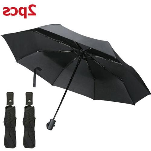 2x portable windproof umbrella anti uv sun