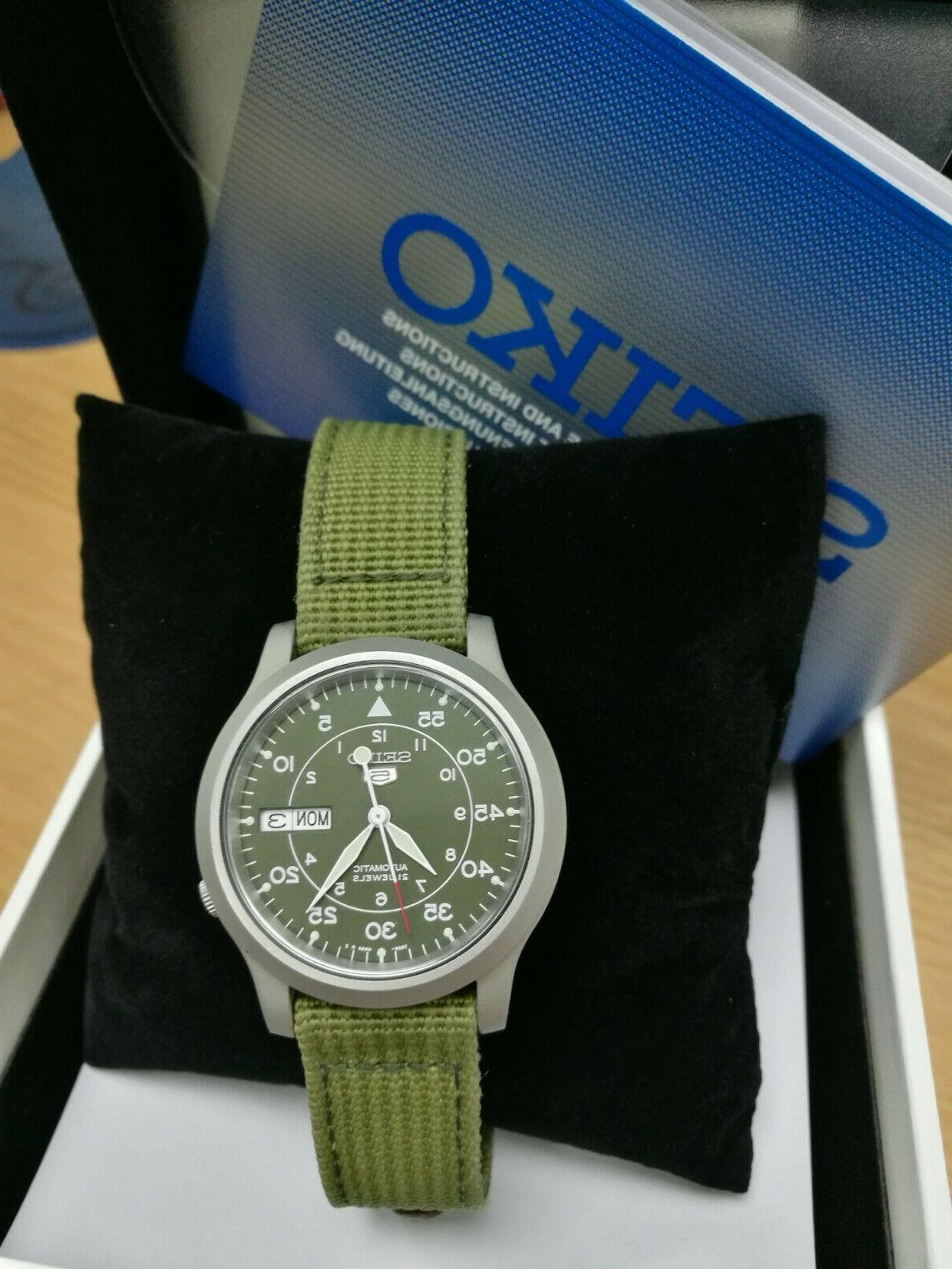 5 military automatic watch green umbrella fabric