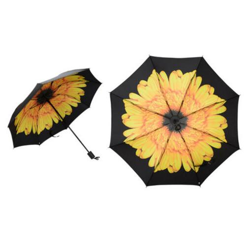 Folding Flower Anti-UV Parasol Black