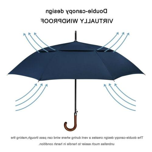 52''Wooden Large Double Golf Umbrella Women Windproof Auto Open J Grip Stick