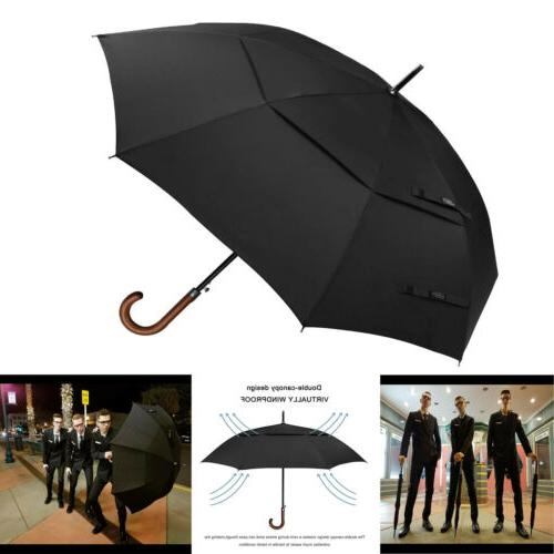 52 Inch Wooden J Handle Classic Golf Umbrella Windproof Auto