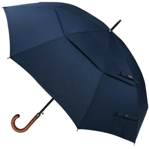 52''Wooden Umbrella Men Auto Stick