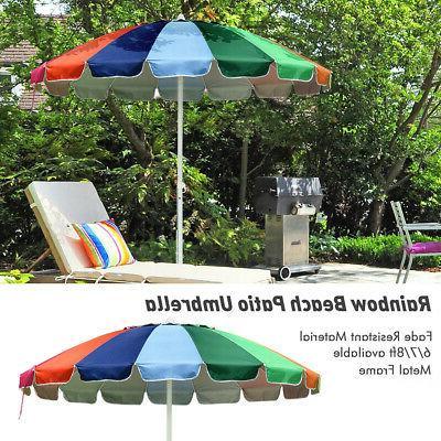 6/7/8ft Rainbow Beach Patio Umbrella Metal Market Tilt 16 Ri