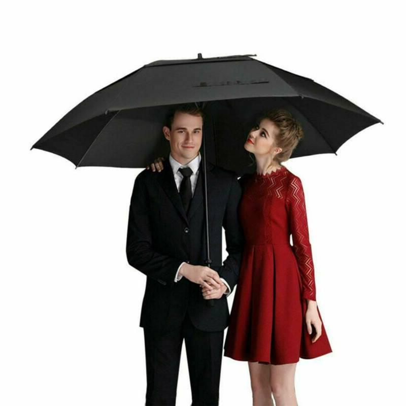 "62"" Automatic Open Golf Umbrella Large Oversize Double Canopy"