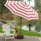 7.5-Ft Patio Umbrella in Red and White Stripe Outdoor Fabric