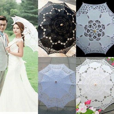 9 Colors Women Bridal Umbrella Cotton Lace Embroidery Weddin