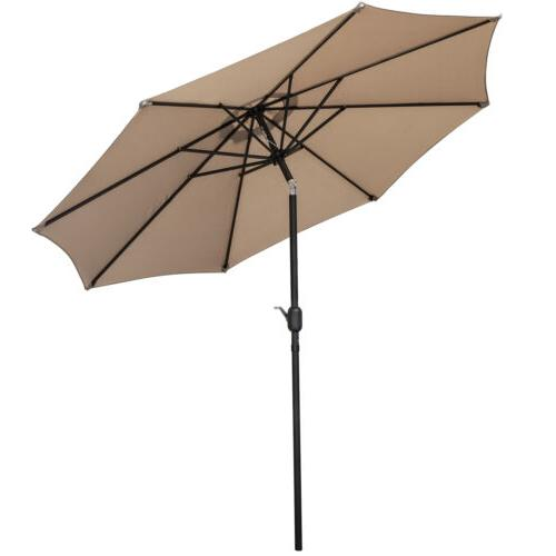 Outdoor Market Table Umbrella with Push Button Tilt Crank 9