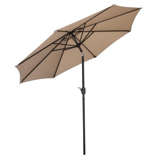 9FT Waterproof Patio Umbrella with 8 Outdoor Garden