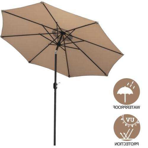 9ft waterproof patio umbrella with 8 sturdy