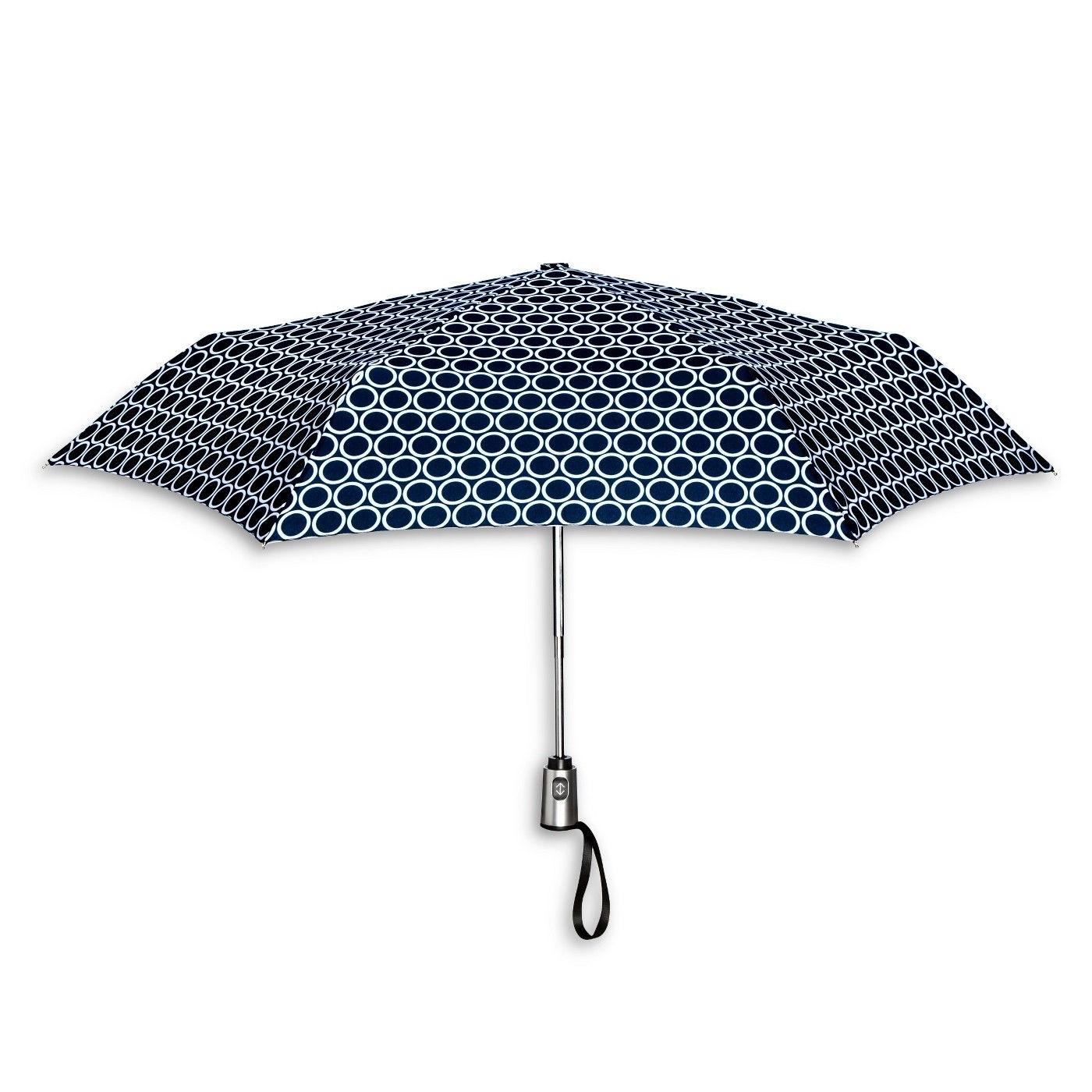 ShedRain Auto Open/Close Compact Umbrella - Navy Polka Dot