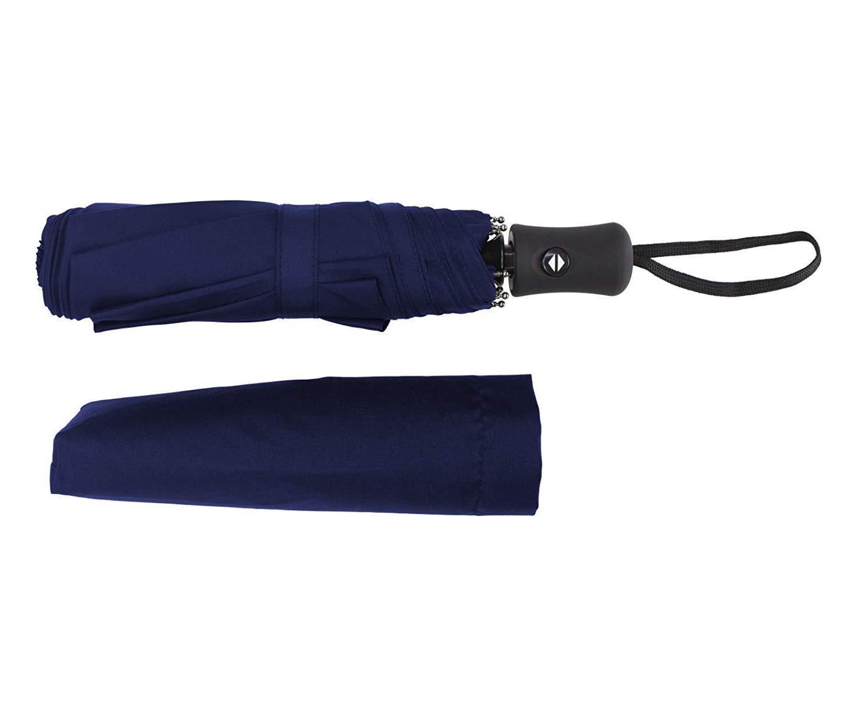 Auto Close Folding Compact Women Umbrella Blue