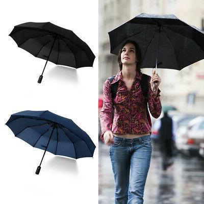 Automatic Folding Compact Windproof 10Ribs Men Travel Umbrella