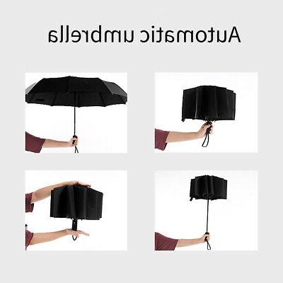Automatic Folding Windproof 10Ribs Men Women Travel Umbrella JA