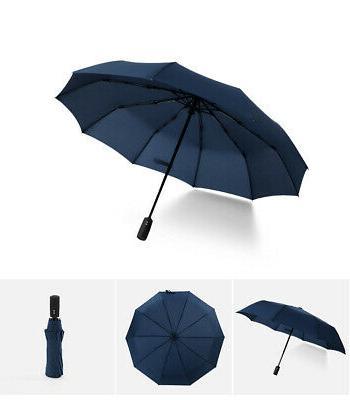 Automatic Folding Windproof 10Ribs Women Travel Umbrella JA