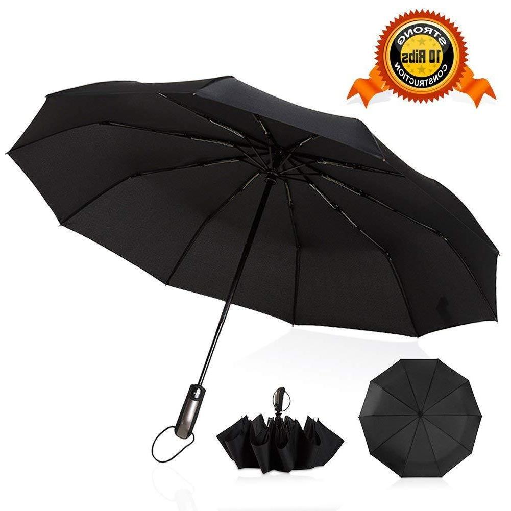Automatic Folding Compact Umbrella Windproof 10 Women Travel