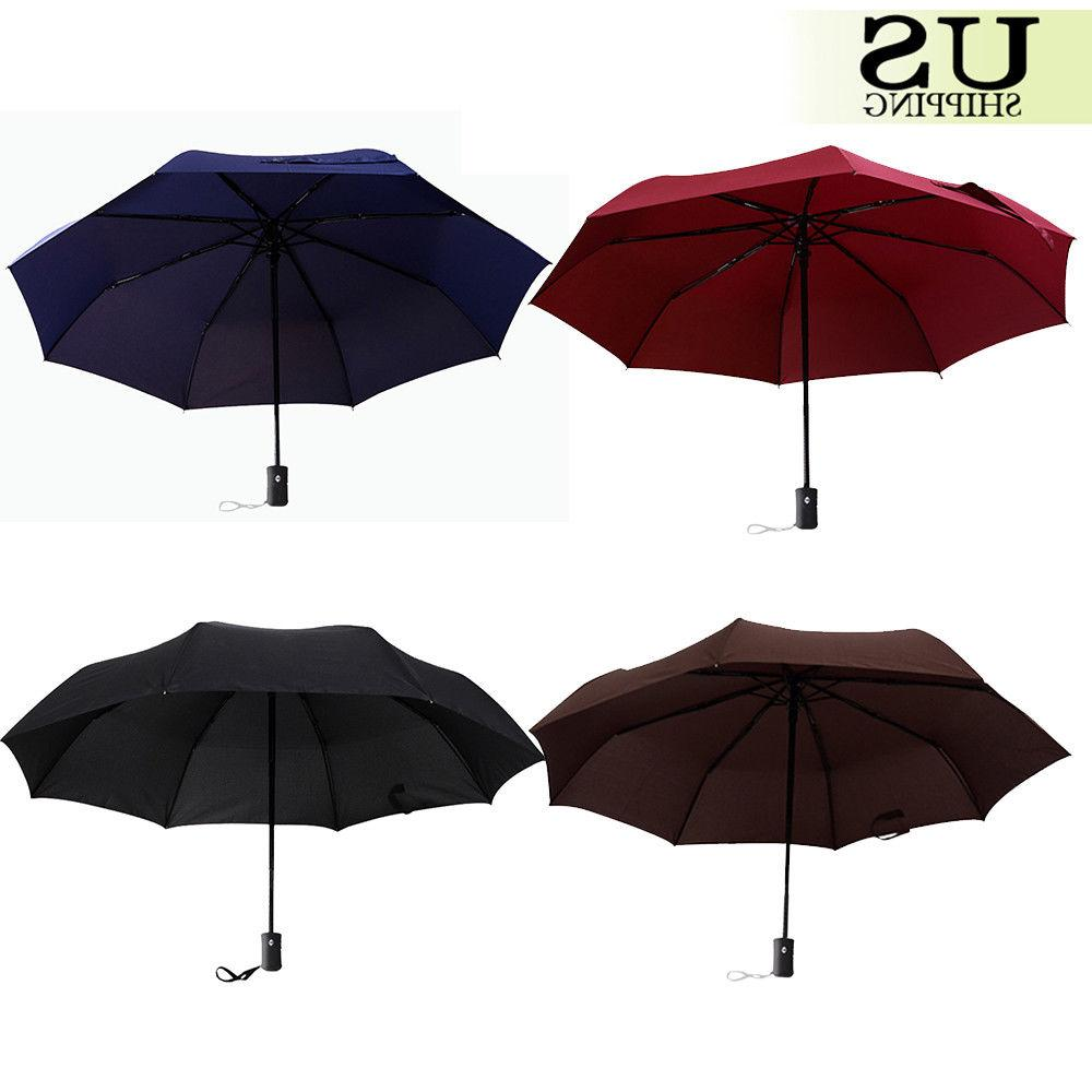 Automatic Open Close Umbrella Compact Folding Sun Rain Windp