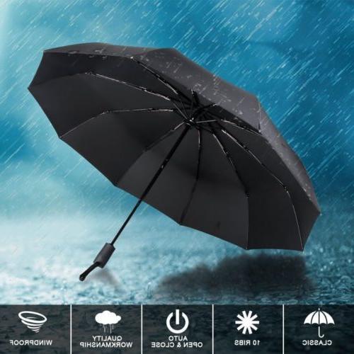Automatic Rain Umbrella Windproof Folding Compact XL