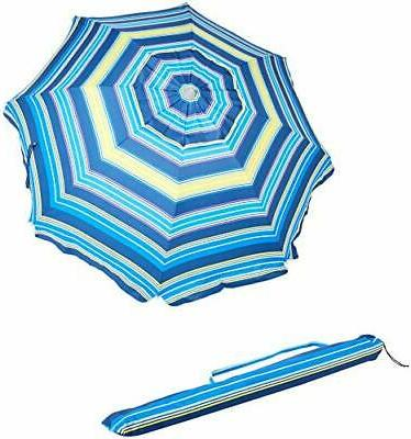 beach sun umbrella blue and yellow striped